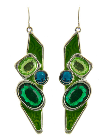"""resell for 12.00 or more Silver Tone / Green Acrylic & Epoxy / Lead Compliant / Fish Hook / Dangle / Earring Set / •   WIDTH X LENGTH : 3/4"""" X 2 1/2""""  •   SILVER/GREEN Style #GBEE040418g"""