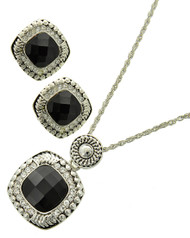 """resell for 27.00 or more Silver Tone / Black Acrylic & Clear Rhinestone / Lead&nickel Compliant / Metal / Pendant / Necklace & Earring Set /  •   LENGTH : 17"""" + EXT •   PENDANT : 1"""" X 1 3/4"""" •   EARRING : 3/4"""" X 3/4""""  •   SILVER/BLACK Style #OBCNS040418g"""
