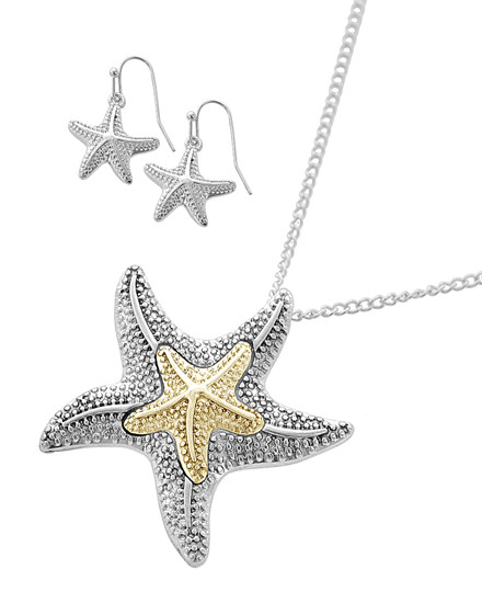 """resell for 27.00 or more Silver Tone / Lead&nickel Compliant / Metal / Fish Hook (earrings) / Pendant / Sea Life / Starfish / Necklace & Earring Set  •   LENGTH : 25"""" + EXT •   PENDANT : 1 5/8"""" X 1 5/8"""" •   EARRING : 3/4"""" X 1 1/8""""  •   SILVER Style #TTSFNS040418g"""
