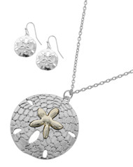 """resell for 36.00 or more Silver Tone / Lead&nickel Compliant / Metal / Fish Hook (earrings) / Pendant / Sea Life / Starfish / Necklace & Earring Set •   Style No : 559794 •   LENGTH : 25"""" + EXT •   PENDANT : 1 5/8"""" X 1 5/8"""" •   EARRING : 3/4"""" X 1 1/8""""  •   SILVER Style #TTSDNS040418g"""