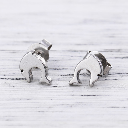 "resell for 6.00 or more 304 Stainless Steel Ear Post Stud Earrings Silver Tone Dolphin Animal 7mm( 2/8"") x 7mm( 2/8""), Post/ Wire  Style #STDPE040518g"