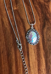 Resell for 9.00 or more Mermaid cabochon / dragon scale  Pewter framed bezel 20 inch ball chain silver tone plus ext Style #MFSN040618g