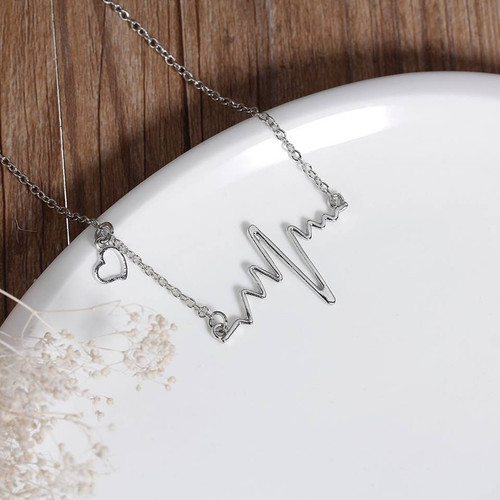 """resell for 12.00 or more Fashion Necklace Silver Tone Link Cable Chain With Heartbeat /Electrocardiogram Connector About 52.5cm(20 5/8"""") long Style #HBN040918"""