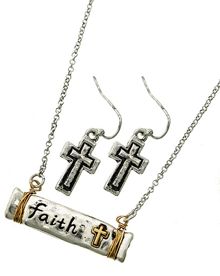 """resell for 36.00 or more Burnished Silver & Burnished Gold Tone / Lead&nickel Compliant / Metal / Fish Hook (earrings) / Religious / Faith Pendant / Necklace & Earring Set  •   LENGTH : 17 3/4"""" + EXT •   PENDANT : 1 3/8"""" X 1/4"""" •   EARRING : 7/16"""" X 1 1/4""""  •   BURNISHED SILVER  Style #FTTNS041118"""