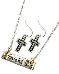 "resell for 36.00 or more Burnished Silver & Burnished Gold Tone / Lead&nickel Compliant / Metal / Fish Hook (earrings) / Religious / Faith Pendant / Necklace & Earring Set  •   LENGTH : 17 3/4"" + EXT •   PENDANT : 1 3/8"" X 1/4"" •   EARRING : 7/16"" X 1 1/4""  •   BURNISHED SILVER  Style #FTTNS041118"