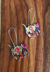Resell for 18.00 or more Pewter and Mylar. Variances in color make these unique  Approx 2 1/4 inch long Stainless steel earwires Cat / kitty / Multi Style #SCMCE041218