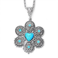resell for 12.00 or more 18 inch silver tone chain plus ext. Turquoise Magnesite with Crystal. Flower is Pewter, 1.5 x 1.5 inch Style #TMPFN041218