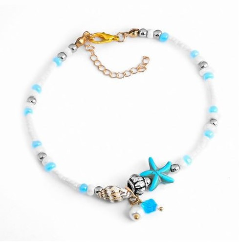 resell for 12.00 or more 10 inch plus ext, gold tone. Starfish Shell Beach Anklet Style #SBA041218