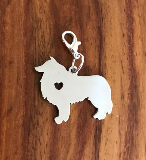 Resell for 12.00 or more Collie sheltie type Stainless steel engrave-able charm  Bauble lobster clasp Style #ECSBC041318