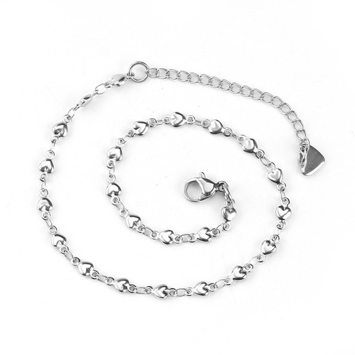 """resell for 15.00 or more 304 Stainless Steel Anklets Heart Silver Tone 23cm(9"""") long, Chain Size: 7x4mm( 2/8"""" x 1/8"""") Style #SHAB041318"""