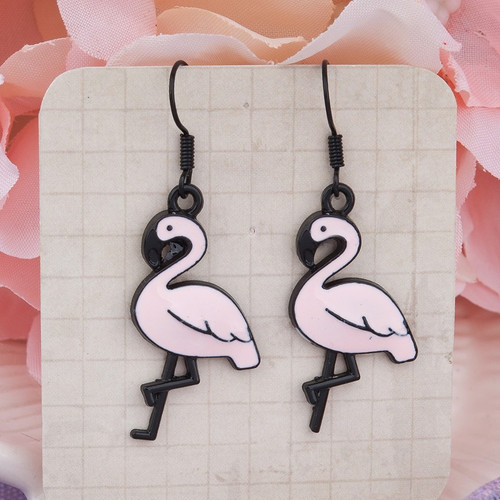 """resell for 9.00 or more Black Pink Flamingo Enamel 44mm(1 6/8"""") x 16mm( 5/8"""") black coated steel ear wires Style #PFBE041318"""