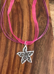Resell for 12.00 or more Fuchsia organza with pewter boho star 17.5 inch plus ext Style #FOBSN041318