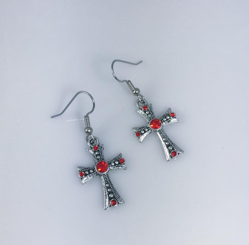 Resell for 12.00 or more Pewter cross red crystal Surgical steel ear wires Style #RCCE041318