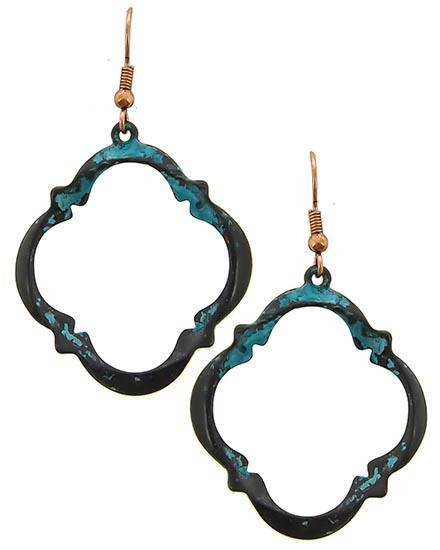 "resell for 18.00 or more Patina & Burnished Copper Tone / Lead&nickel Compliant / Metal / Fish Hook / Dangle / Earring Set  • WIDTH X LENGTH : 1 1/4"" X 2 1/4"" Style #PBCOE041618"