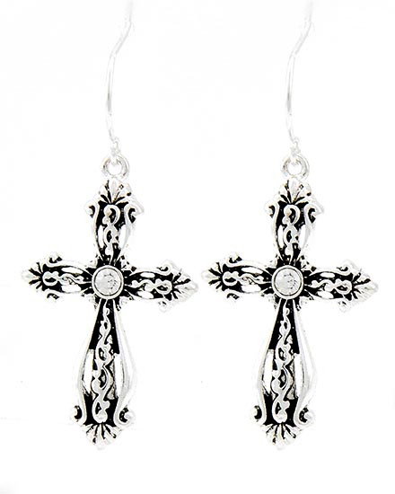 """resell for 27.00 or more Antique Silver Tone / Clear Rhinestone / Lead&nickel Compliant / Cross Dangle / Fish Hook Earring Set  •   DROP LENGTH : 1 5/8"""" •   A.SILVER  Style #CCE041718"""