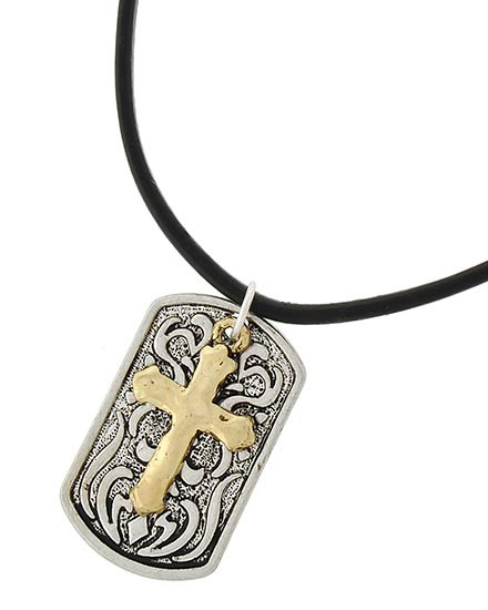 "resell for 33.00 or more Two-tone / Black Leatherette Cord / Lead&nickel Compliant / Metal / Filigree / Cross Pendant / Necklace  •   LENGTH : 22"" •   PENDANT : 1"" X 1 1/2""	 •   GOLD/BLACK/SILVER  Style #TTCDTLN041818"
