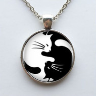 resell for 15.00 or more  22 inch silver tone chain Yin Yang Cats Black White/ pewter Style #YYCN041818