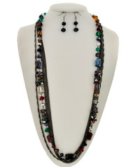 "resell for 33.00 or more Hematite Tone / Multi Color Glass Crystal / Lead&nickel Compliant / Fish Hook (earring Set) / Multi Strand / Long Neck & Earring Set / •   LENGTH : 32"" + EXT •   EARRING : 1/2"" X 1 3/4""	 •   HEMATITES/MULTI Style #HMSLN041818"