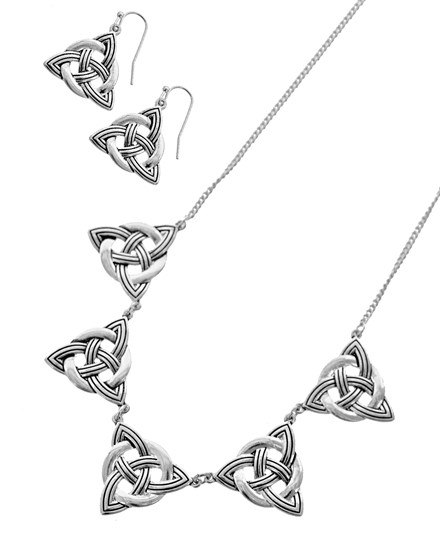 """resell for 45.00 or more Antique Silver Tone / Lead&nickel Compliant / Metal / Fish Hook (earrings) / Celtic Knot / Necklace & Earring Set  •   LENGTH : 17"""" + EXT •   EARRING : 7/8"""" X 1 1/4""""  •   DROP : 1"""" •   SILVER  Style #CTNS041818"""