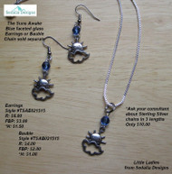 The Suns Awake Blue faceted glass Bauble; earrings &chain sold separately