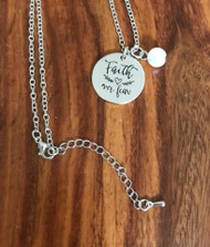Resell for 15.00 or more Faith over fear motivational charm with white glass pearl.  18 inch silver tone chain w ext Style #FOFN041918