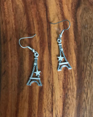 Resell for 5.00 or more Pewter Eiffel Tower w stars Surgical steel ear wires Style #ETSE042018g