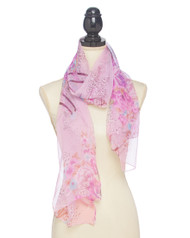 """3 available 13.00 resell for 40.00 or more Purple / 100% Polyester Feel Silk / Flower Print Oblong Scarf / 2018 S/s  • 19 1/2""""X 63""""  •   100% POLYESTER   •   Purple  Style #PPLS042418"""