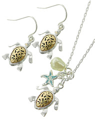 """resell for 45.00 or more Two-tone / Mint / Cream Fresh Water Pearl / Lead&nickel Compliant / Metal / Fish Hook (earrings) / Animal / Sea Life / Charm Delicate / Sea Turtle & Starfish / Necklace & Earring Set  •   LENGTH : 16"""" + EXT •   PENDANT : 5/8"""" X 7/8"""" •   EARRING : 5/8"""" X 1 1/8"""" •   SILVER/GOLD  Style #TTSTNS042418"""