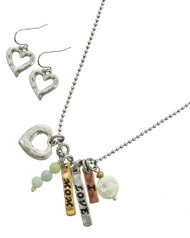 "resell for 60.00 or more Tri-tone / Cream Fresh Water Pearl & Mint Semi Precious Stone / Lead&nickel Compliant / Metal / Fish Hook (earrings) / Valentine's Day / Charm Pendant / Heart & Message / Necklace & Earring Set  •   LENGTH : 17"" + EXT •   EARRING : 5/8"" X 1"" •   DROP : 1 1/2""	 •   B.SILVER/MULTI TONE  Style #ILMNS042418"