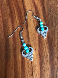 Resell for 12.00 or more Pewter cow skull bead, turquoise magnesite Surgical steel ear wires Style #CSTE042618