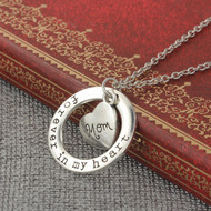 """resell for 12.00 or more Necklace Antique Silver Circle Ring Heart Message """" Forever In My Heart & Mom """" 54cm(21 2/8"""") long - 52cm(20 4/8"""") long Style #MHPN042618"""