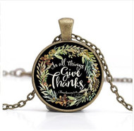 resell for 15.00 or more In All Things Give Thanks. Thessalonians 5:18 18 inch antiqued brass chain, Bible Verse Necklace. Style #IATGTN042618