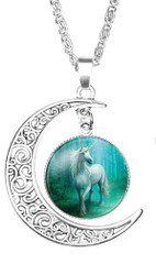"resell for 15.00 or more Necklace  Unicorn Silver Plated Teal Green Blue Moon 52cm(20 4/8"") long Style #TGBUN042718"