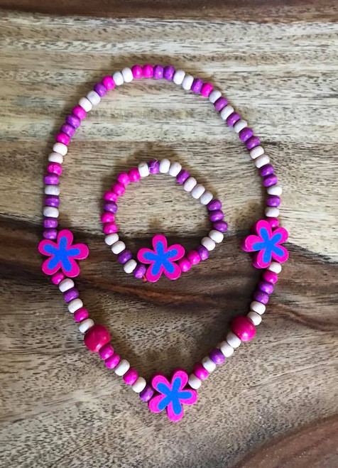 Resell for 15.00 or more Wood stretch children's flower necklace and bracelet. Purple pink Style #CPPFNS042718