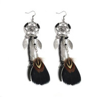 resell for 18.00 or more Bohemian Dreamcatcher Drop Earrings Leaves Feather Black stone Dangle Earrings 5 inches long Style #BBFLE042718