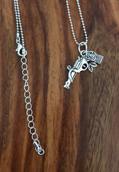 Resell for 9.00 or more 20 inch ball chain plus ext Gun w rose charm pewter Style #GRN042718