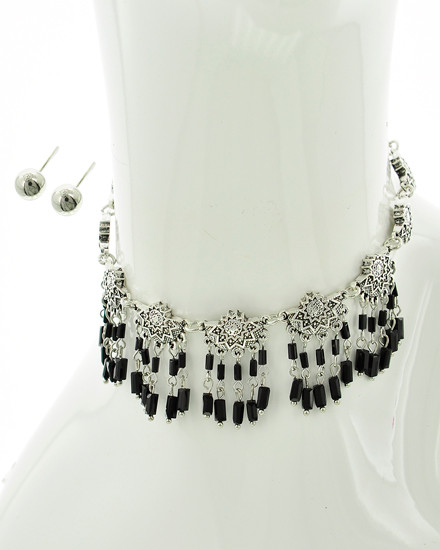 """resell for 25.00 or more Antique Silver Tone / Black Acrylic Seed Beads / Lead Compliant / Metal / Charm / Choker / •   LENGTH : 12 1/4"""" + ext •   EARRING : 1/4"""" DIA •   DROP : 1 1/2"""" •   B.SILVER/BLACK  Style #BSBCS042718"""