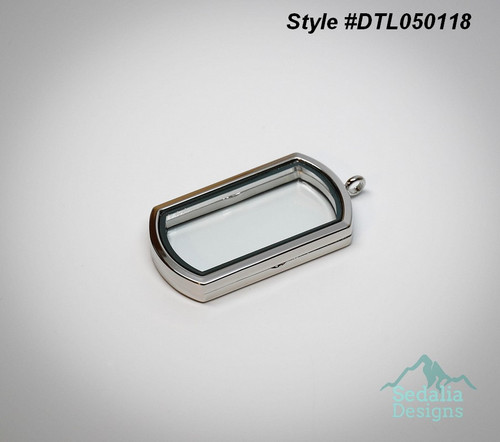 Dog Tag Style Locket  for floating charms  2 inch x 1 inch   zinc alloy / glass  style #DTL050118