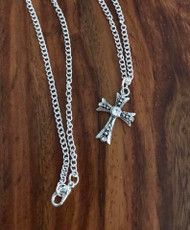 "Resell for 12.00 or more 18 inch silver tone chain Pewter cross w Crystal 1"" Style #CCN050318"