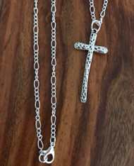 "Resell for 12.00 or more 30 inch silver tone chain Pewter cross 2"" Style #PEC050118"