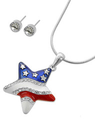 "resell for 33.00 or more Silver Tone / Multi Color Epoxy & Clear Rhinestone / Lead&nickel Compliant / Post (earrings) / Independence Day / Pendant / Star / Necklace & Earring Set  •   LENGTH : 16"" + EXT •   PENDANT : 1 1/8"" X 1 5/8"" •   EARRING : 3/16"" DIA  •   Silver. Style #RWBSN050718"
