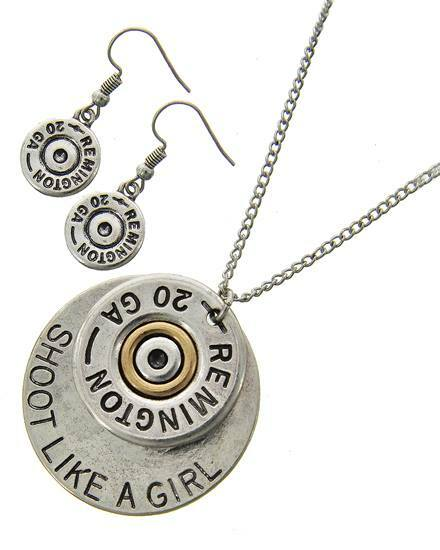 """resell for 45.00 or more Antique Burnished Silver Tone / Lead&nickel Compliant / Metal / Fish Hook (earrings) / Western Theme / Message & Bullet Remington 20 Ga Pendant / Necklace & Earring Set. Shoot like a girl Style #SLG050718  •   LENGTH : 18"""" + EXT •   PENDANT : 1 1/2"""" X 1 5/8"""" •   EARRING : 1/2"""" X 1 1/2""""  •   SILVER"""