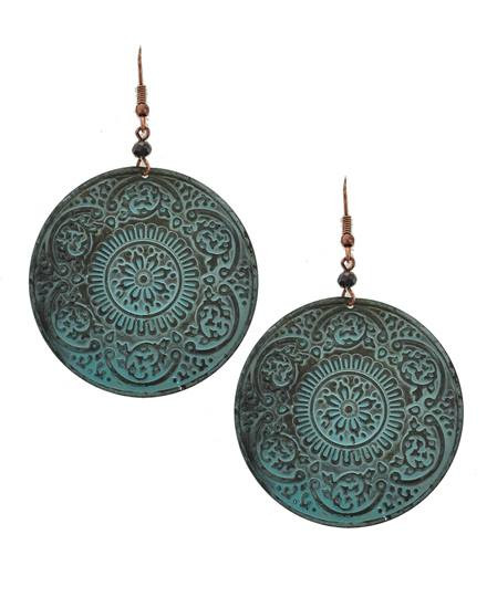 "resell for 18.00 or more Patina / Lead&nickel Compliant / Metal / Dangle / Round & Flower / Earring Set  •   WIDTH X LENGTH : 1 3/4"" X 2 3/4""  •   PATINA Style #PRE051418"