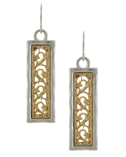 "resell for 24.00 or more Worn Silver Tone & Worn Gold Tone / Lead&nickel Compliant / Metal / Dangle / Square W/filigree / Earring Set  •   WIDTH X LENGTH : 3/8"" X 1 3/4""	 •   SILVER MATTE/GOLD MATTE  Style #TTOE051418"