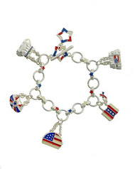 "resell for 27.00 or more Silver Tone / Multi Color Epoxy / Lead Compliant / Metal / Toggle Closure / Independence Day / American Flag / Hand Bag Charm / Bracelet / •   LENGTH : 7 1/2"" - 8 1/2"" •   CHARM : 1""  •   SILVER/MULTI Style #RWBB051518"