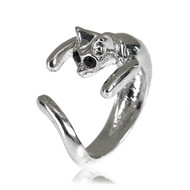resell for 9.00 or more Fits size 7 and up Pewter, black crystal Cat wrap ring Style #BCR05118