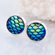 "resell for 9.00 or more Copper & Resin Mermaid Fish/ Dragon Scale Ear Post Stud Earrings Round Silver Plated Blue AB Color W/ Stoppers 15mm( 5/8"") x 12mm( 4/8""), Post. Style #BME051718"