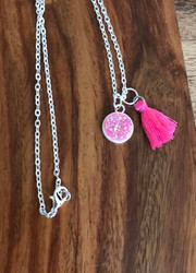 Resell for 12.00 or more 20 inch silver tone chain  Hot pink drusy with tassel Style #PDTN051718