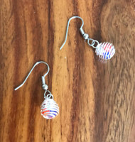 Resell for 6.00 or more Plated pewter with red, white and blue crystal inside  Surgical steel ear wires Style #RWBE051718g