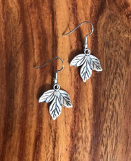 Resell for 6.00 or more Pewter leaf Surgical steel ear wires Style #LE051818